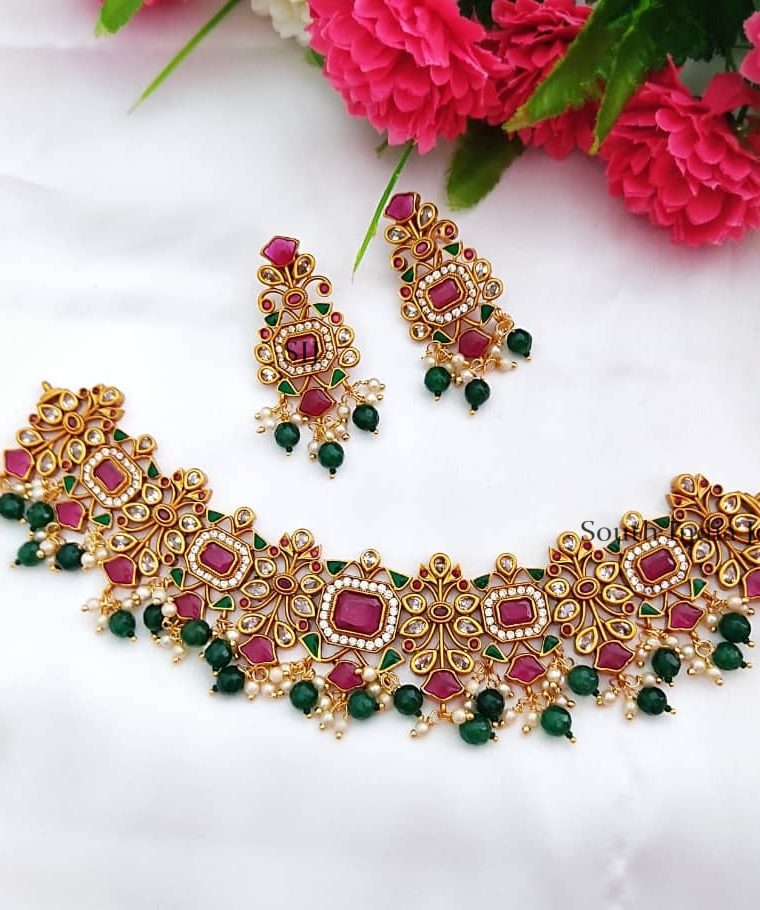 Beautiful Bridal Green Beads Choker