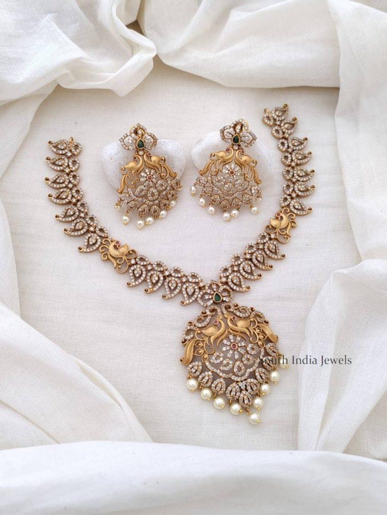 Beautiful CZ Stone Peacock Necklace