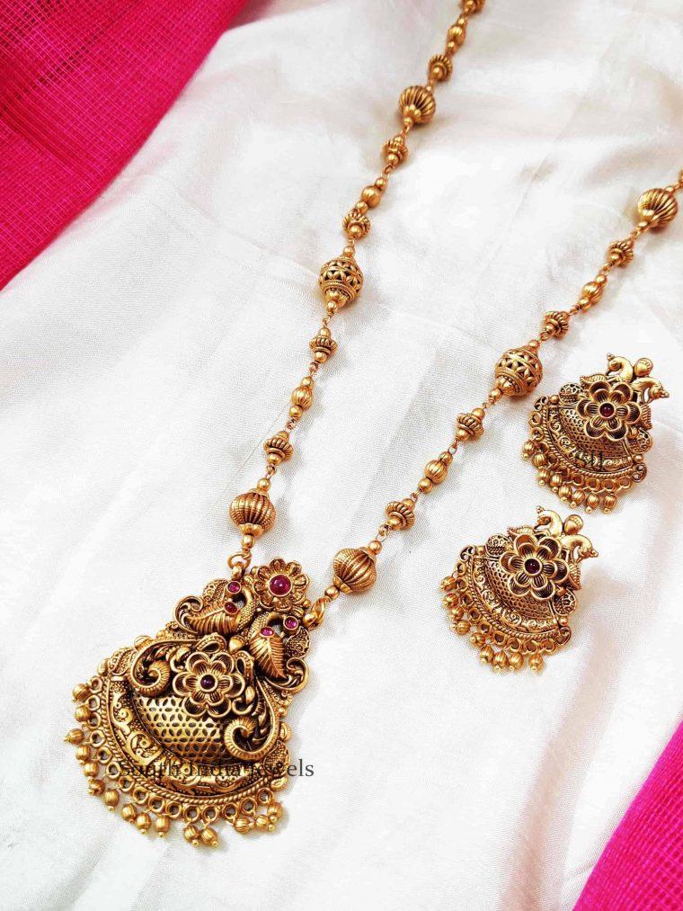 Beautiful Dual Peacock Golden Beads Necklace