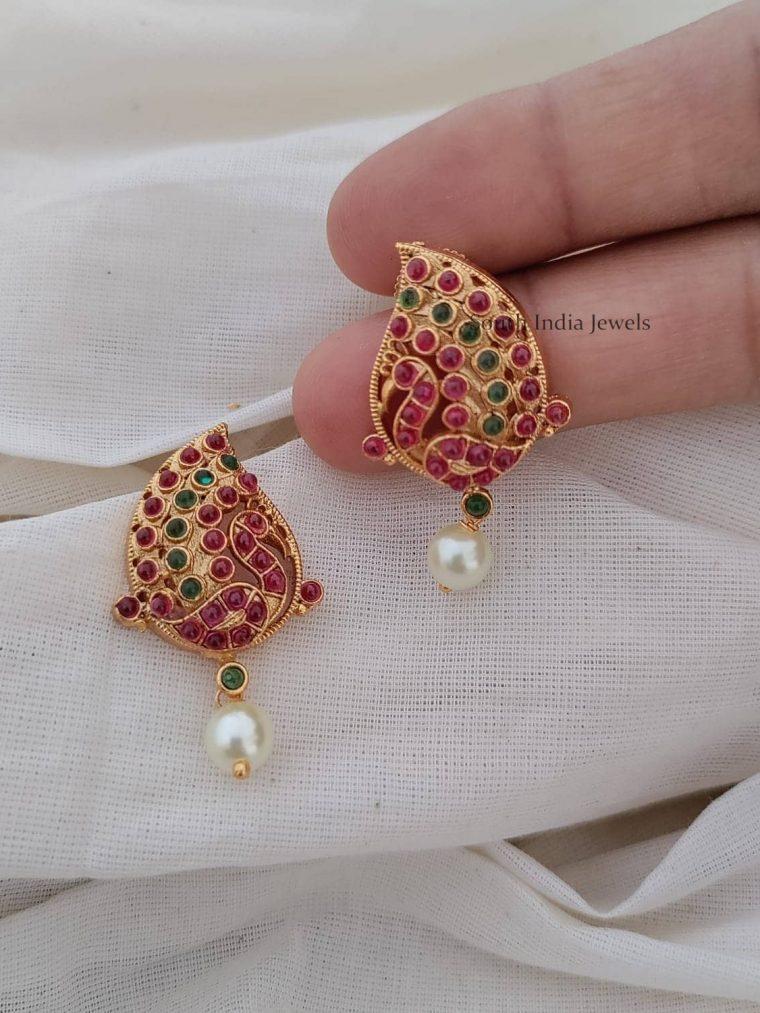 Beautiful Kemp Green Pearl Earrings