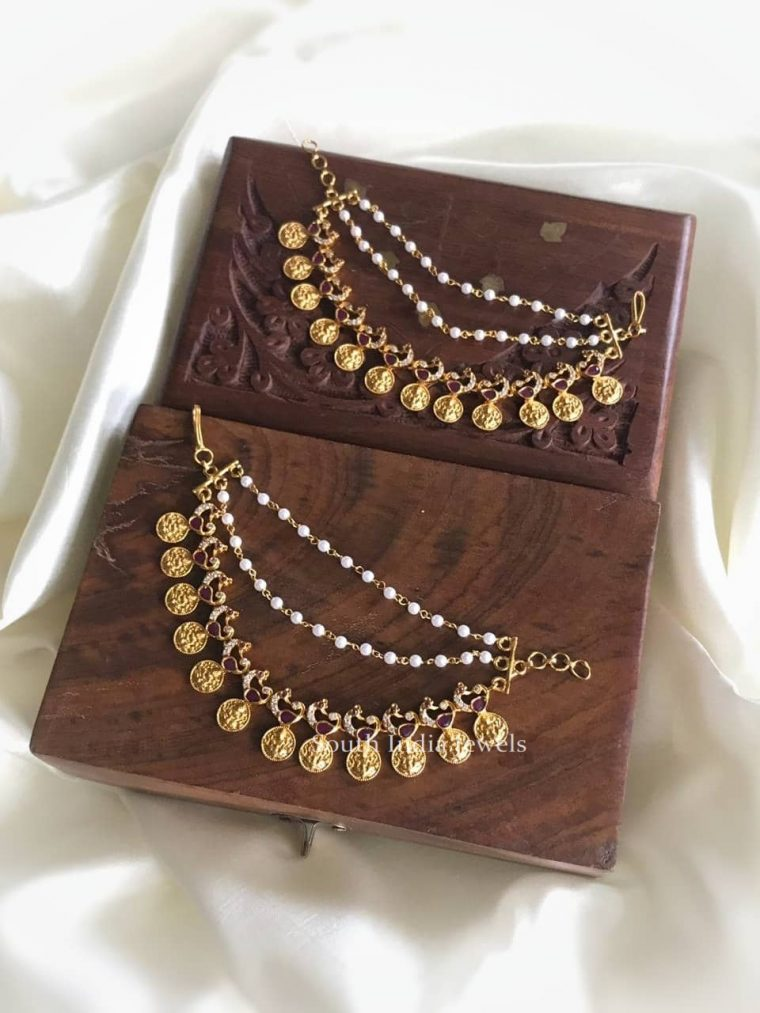 Beautiful Lakshmi Coin Pearl Ear Chain