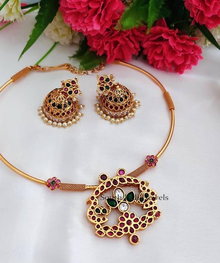 Beautiful Peacock Design Hasli Necklace