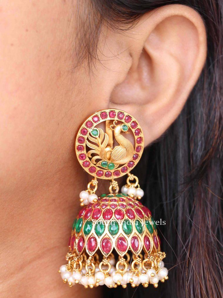 Beautiful Peacock Design Indian Jhumkas