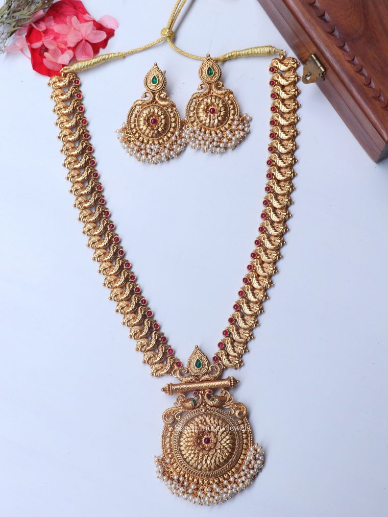 Beautiful Peacock Design Pearls Haram (2)