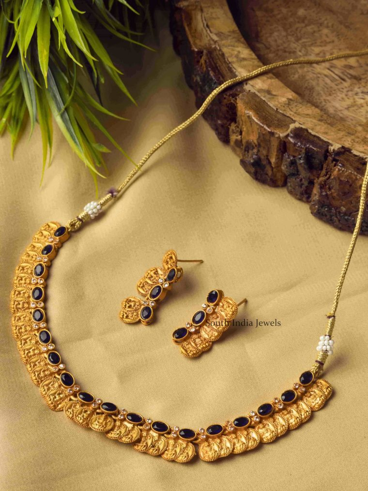 Blue Charming Laxshmi Coin Necklace Set