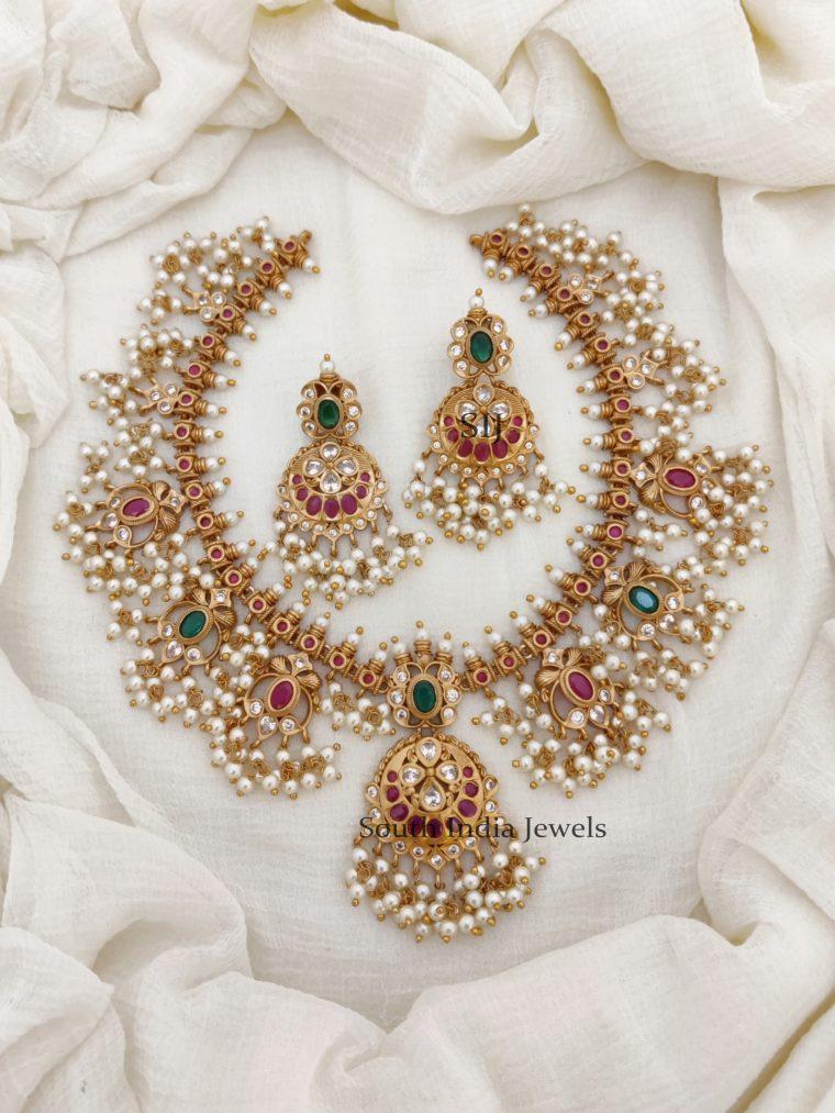 Bridal Guttapusalu Pearl Hanging Necklace