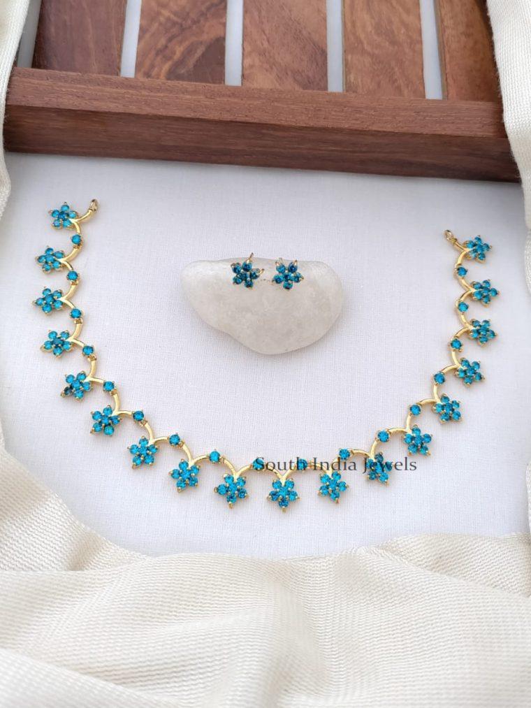 Charming CZ Stones Floral Design Necklace