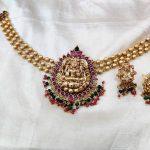 Classic Golden Beads Lakshmi Choker.