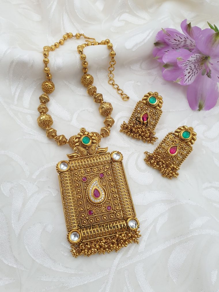 Classic Gold Beads Multicolor Necklace