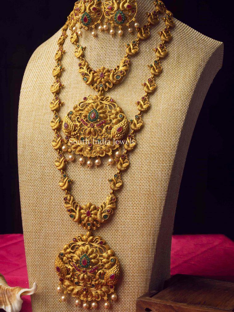 Dual Peacock Design Temple Jewellery Combo Set