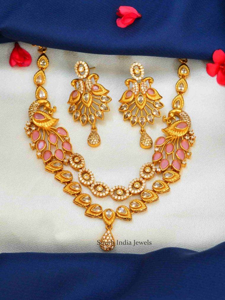 Dual Peacock Pink AD Stones Necklace