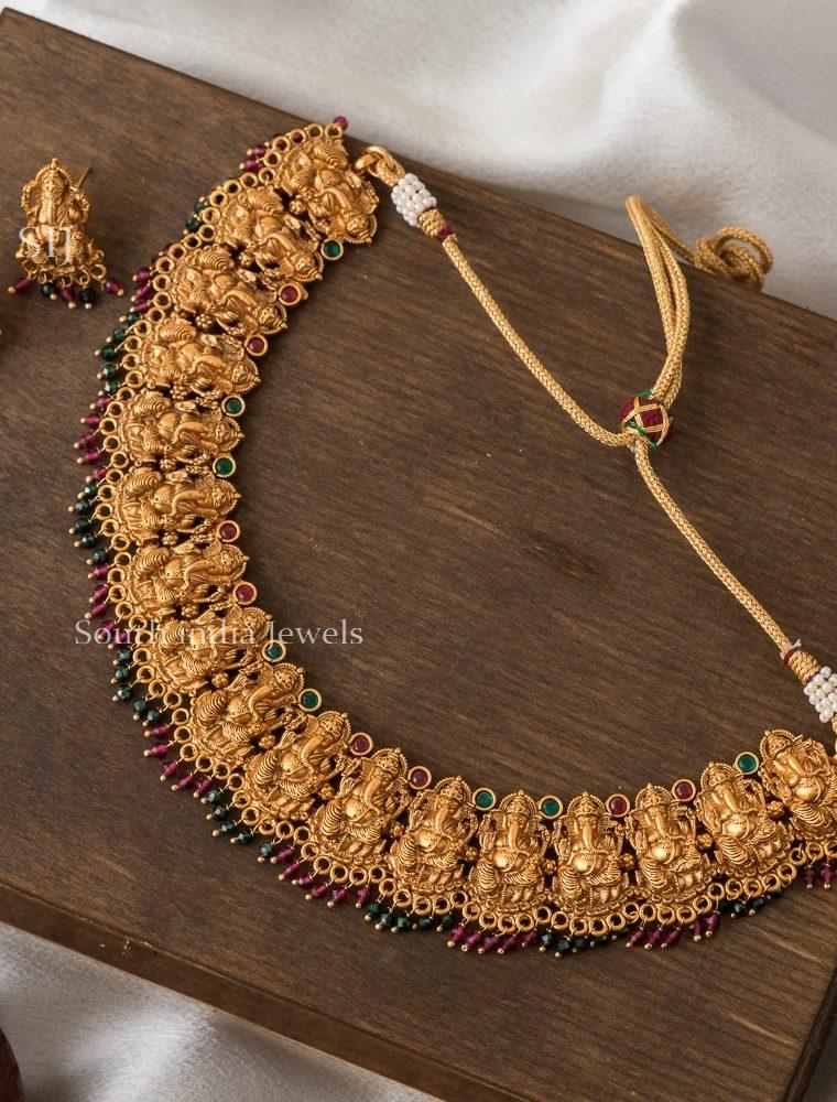 Elegant Ganesha Ruby Green Necklace