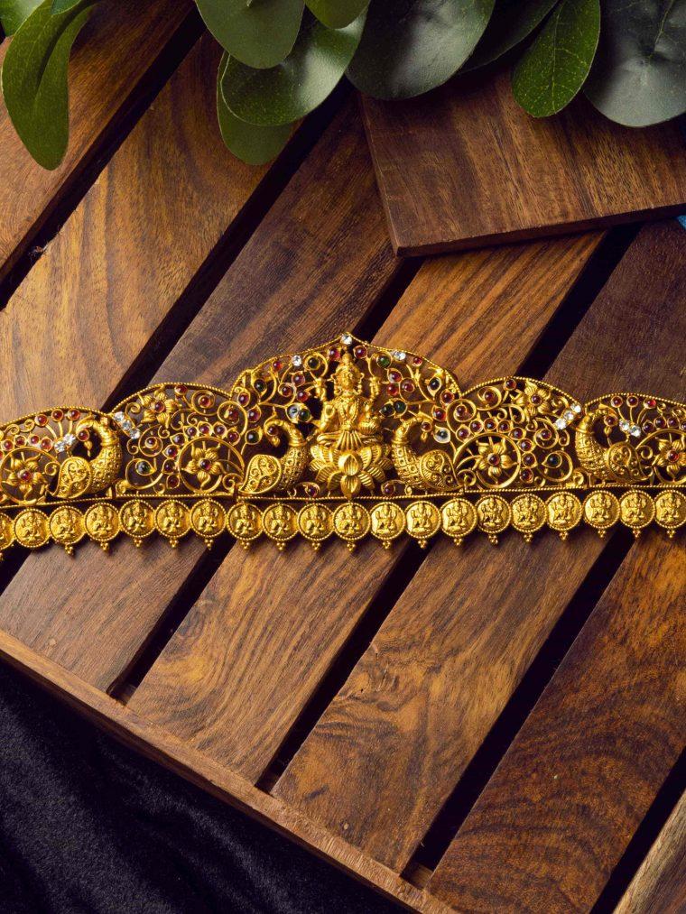 Elegant Lakshmi Temple Design Hip Belt