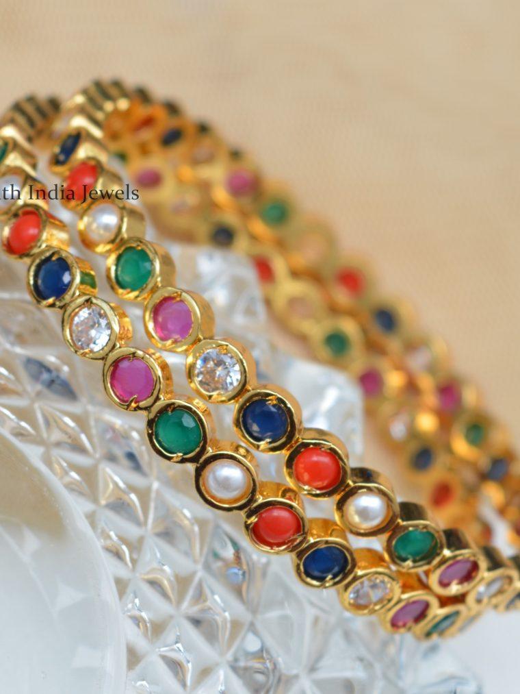 Elegant Navratna Stones Bangles