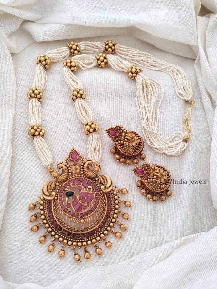 Elegant Ruby Haaram With Peacock Pendant