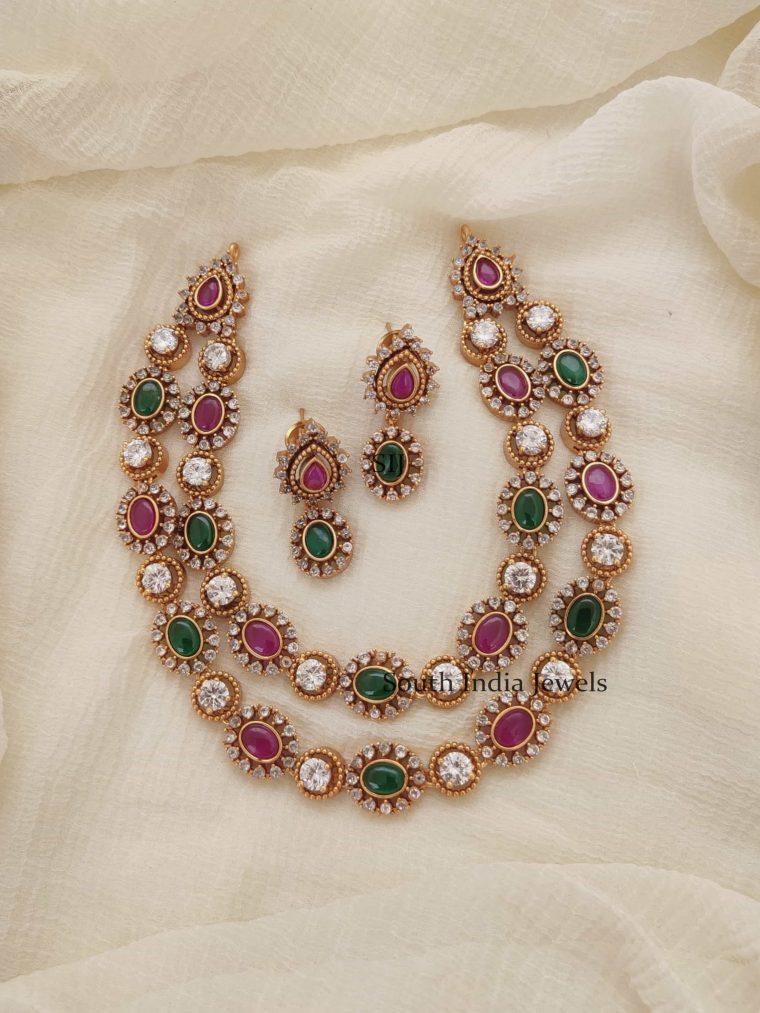 Elegant Two Layer AD Stones Necklace