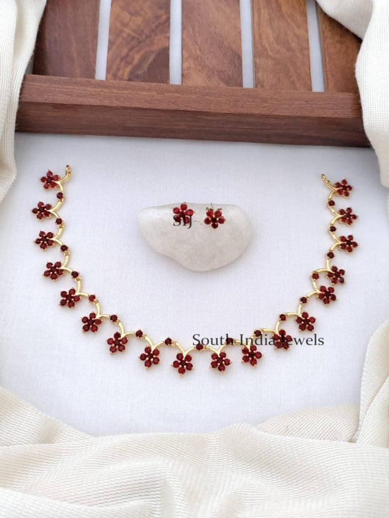 Exquisite CZ Stone Floral Necklace