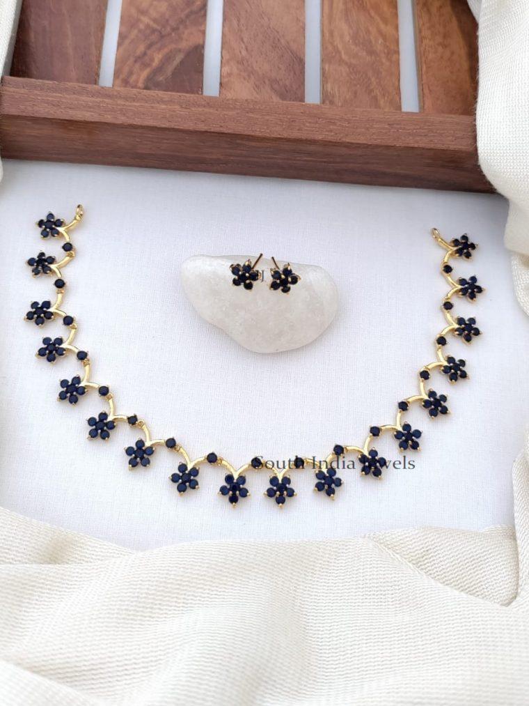 Exquisite CZ Stones Floral Design Necklace