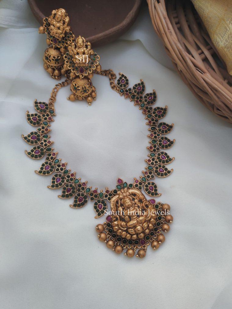 Exquisite Lakshmi Green Kemp Necklace