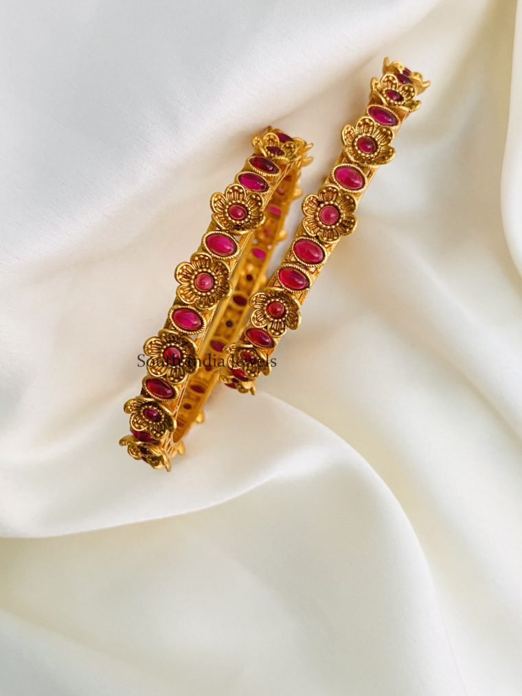 Exquisite Matte Finish Ruby Bangles