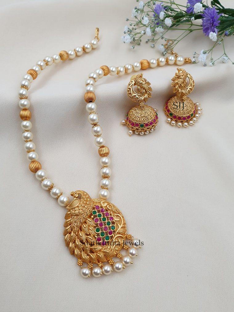 Exquisite Peacock Designer Pearls Necklace