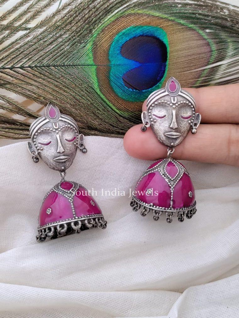 Fabulous German Silver Enamel Jhumka