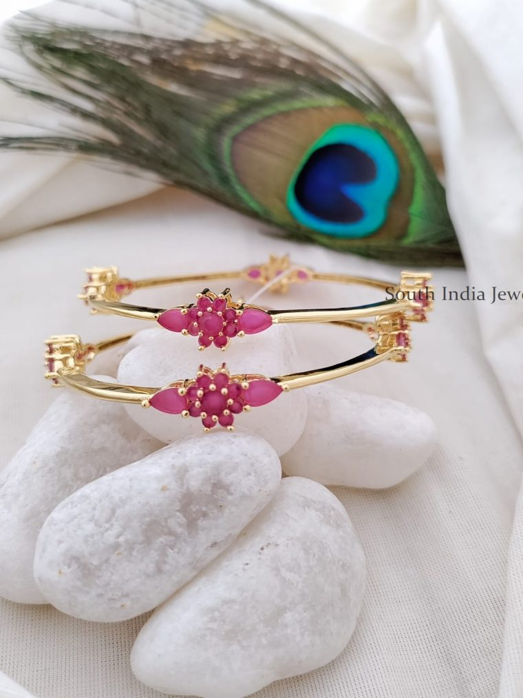 Fantastic Ruby Stone Floral Bangle