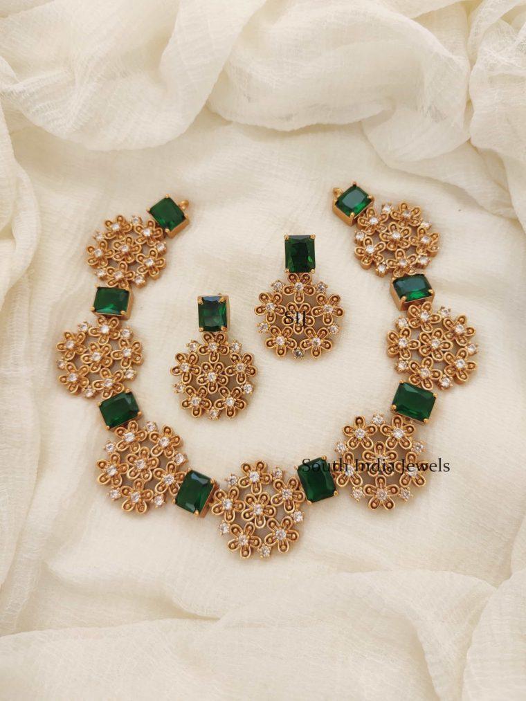 Floral Design AD Stones Necklace