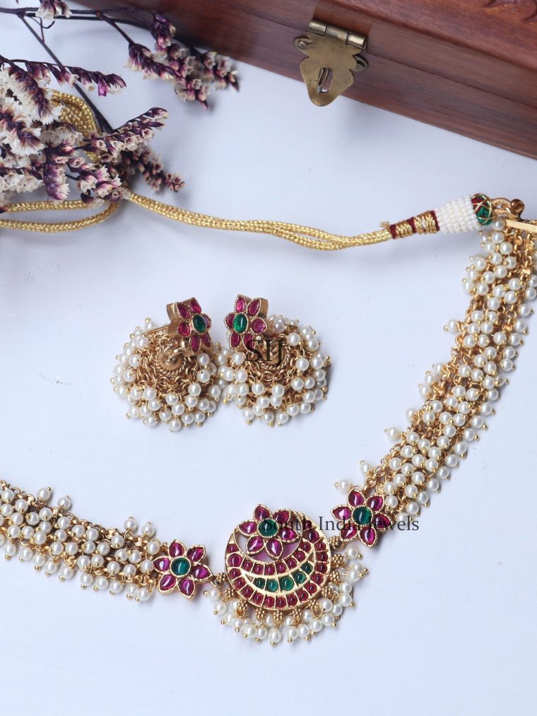 Floral Design Pearls Ruby Choker (2)
