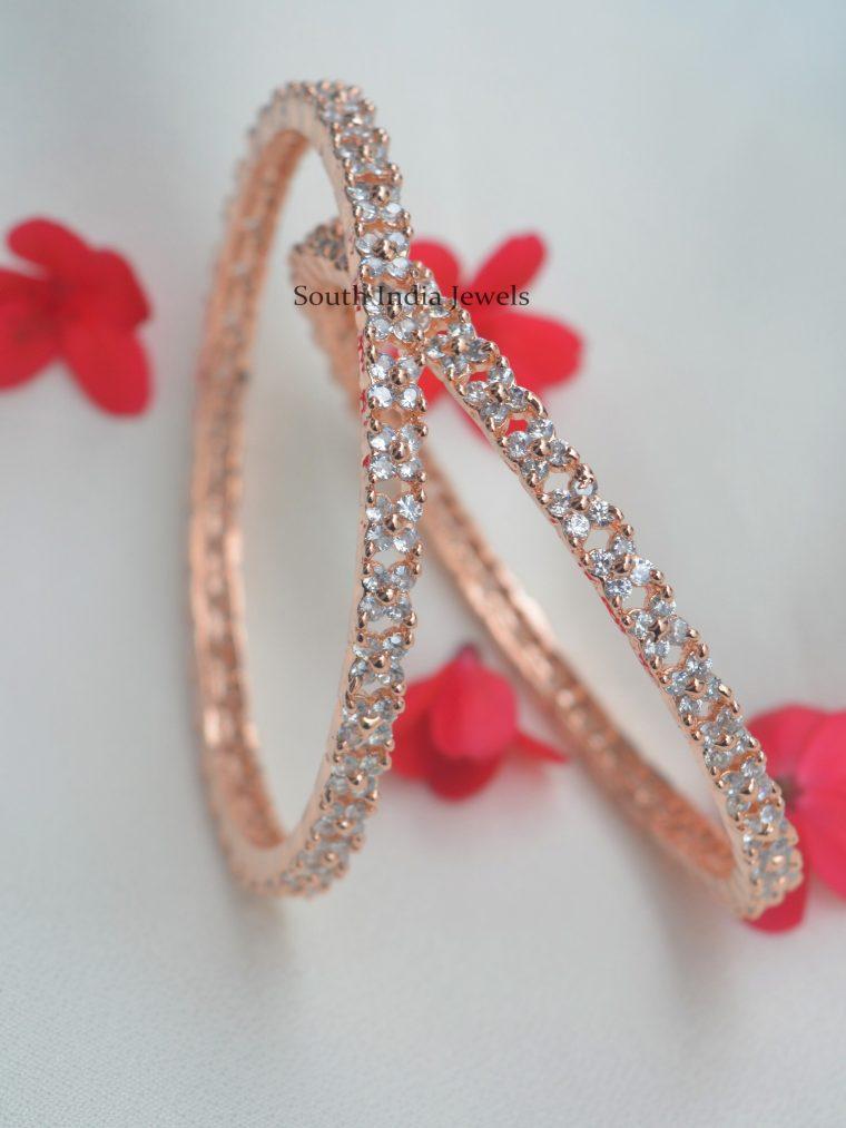 Floral Design Rose Gold Bangles