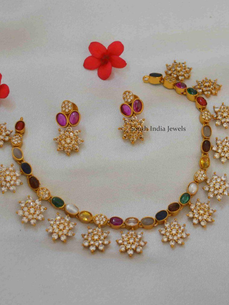 Floral Designer Navratna Stones Necklace