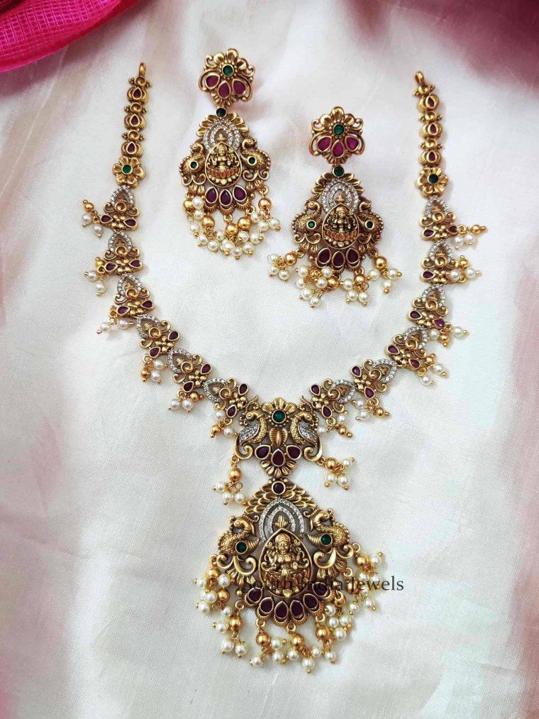 Floral Dual Peacock Lakshmi Necklace