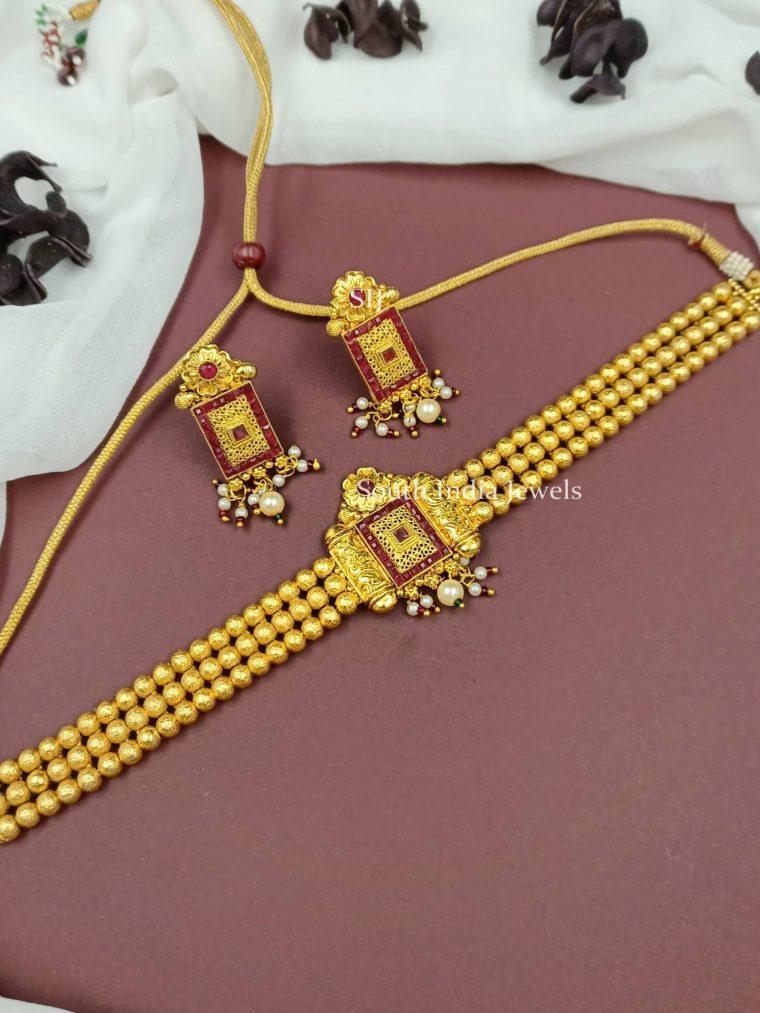 Floral Golden Beads Choker