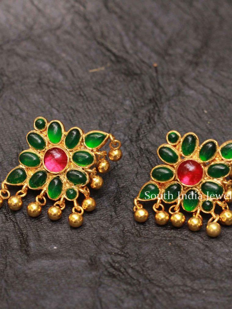 Floral Kemp Stone Silver Earrings