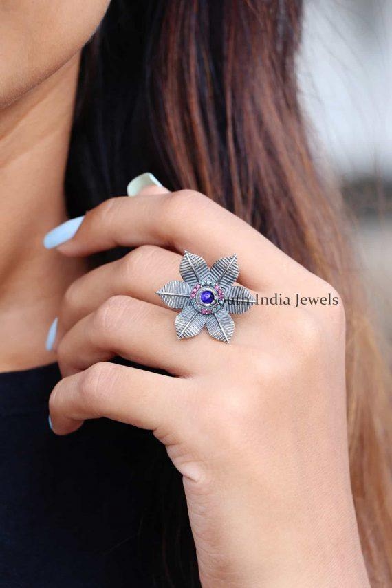 Floral Sterling Silver Finger Ring (2)