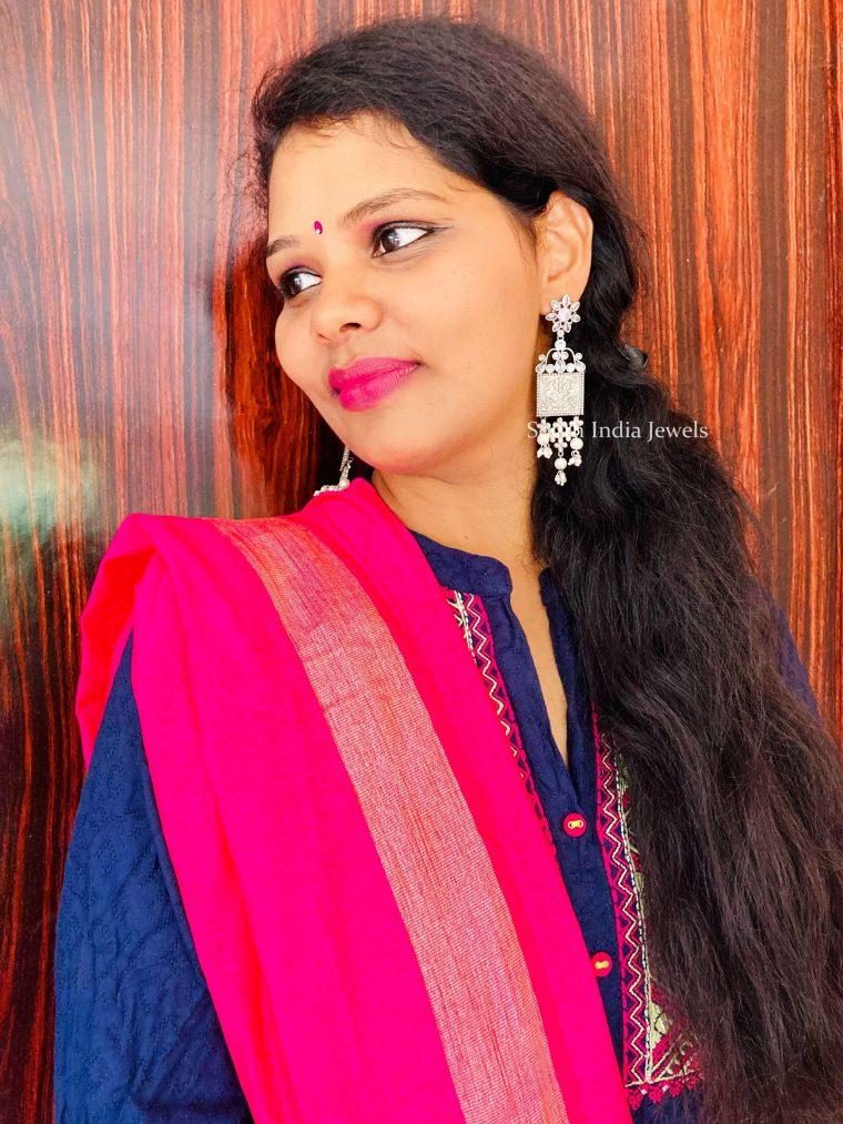 Floret Pearl German Silver Earrings