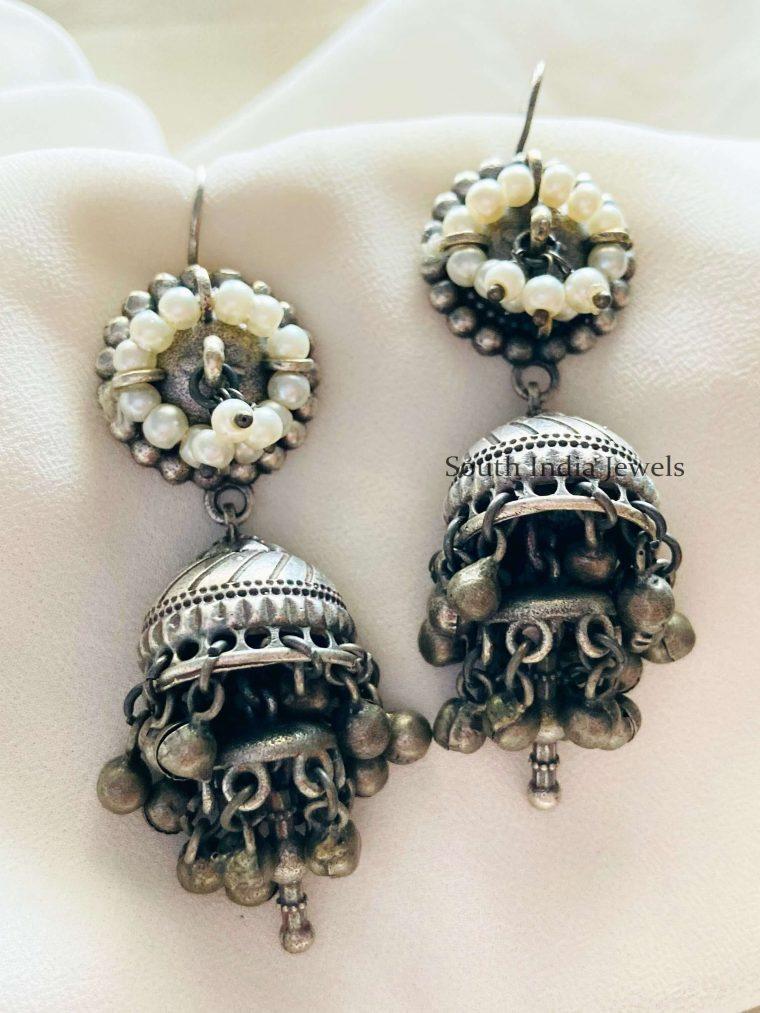Ghungroo Drop Pearl German Silver Jhumkas (2)