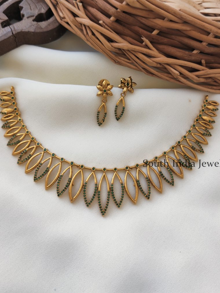 Gold Plated Beautiful Green Stone Necklace
