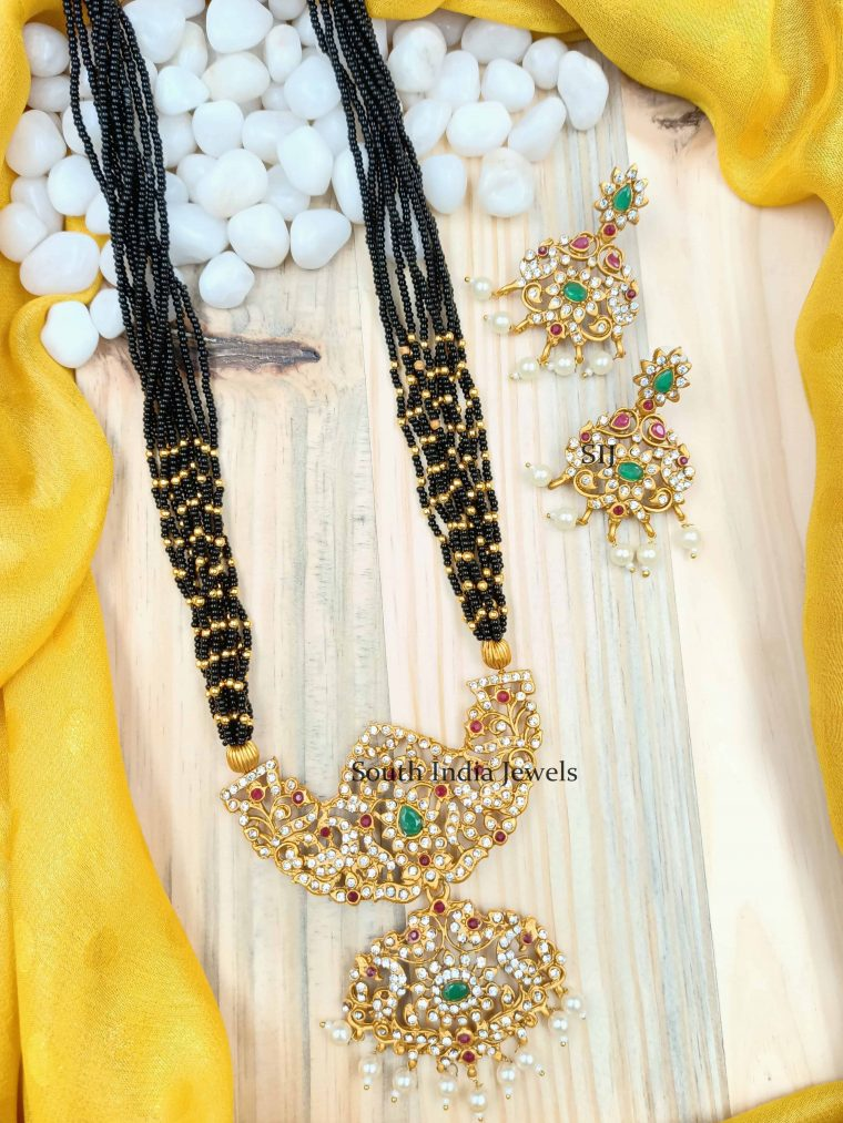 Gorgeous Black Beads AD Long Necklace