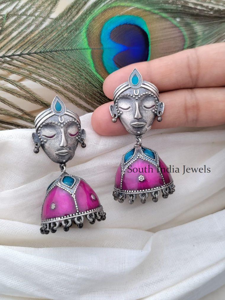 Gorgeous German Silver Enamel Jhumka