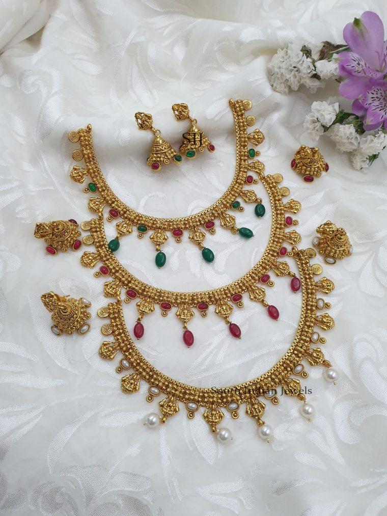 Gorgeous Lakshmi Design Necklace With Jhumkas (3)