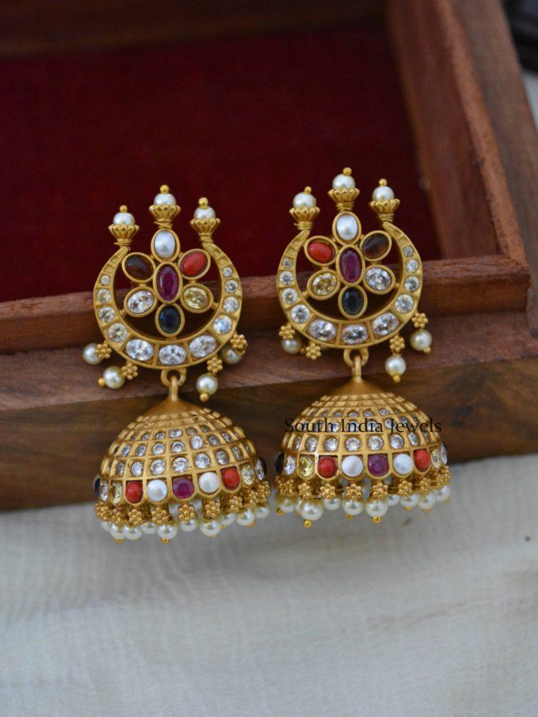 Gorgeous Navarathna Design Jhumkas