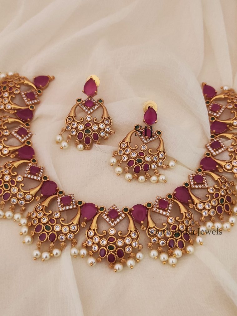 Gorgeous Ruby CZ Stones Pearls Necklace (2)