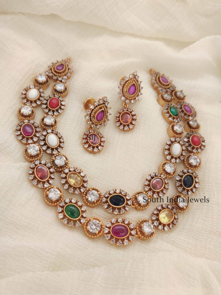 Gorgeous Two Layer Navarathna Necklace