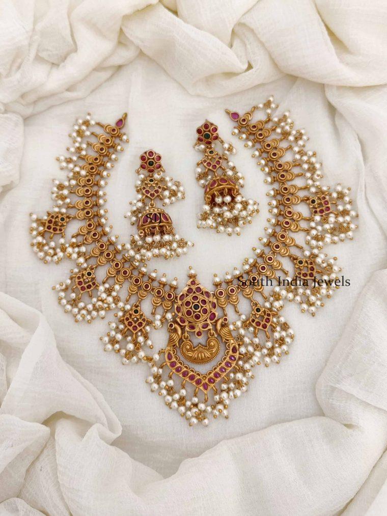 Grand Bridal Peacock Guttapusalu Necklace