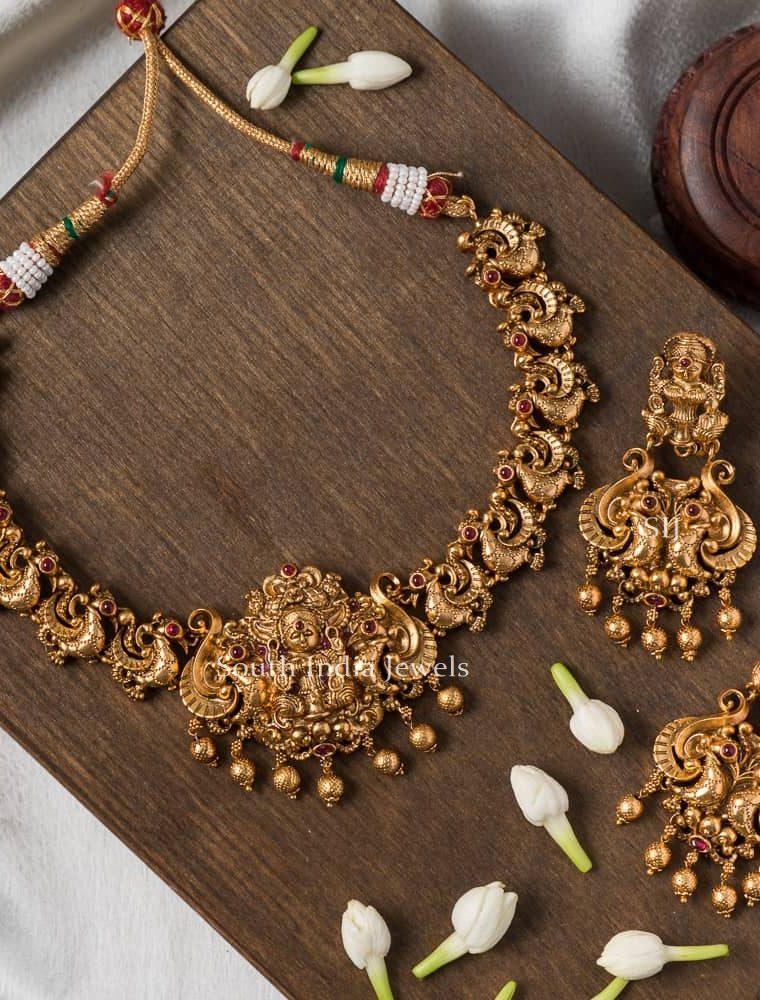 Grand Lakshmi & Peacock Design Necklace