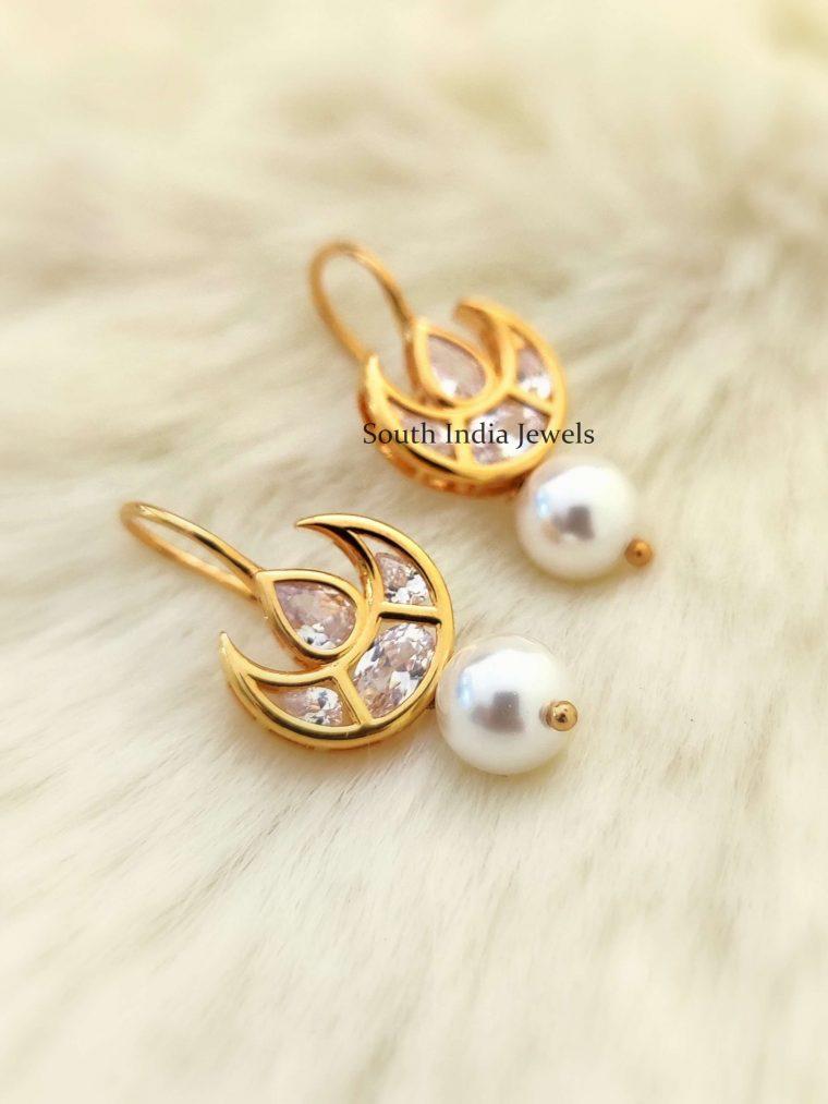 Half Moon Sterling Silver Hoop Earrings