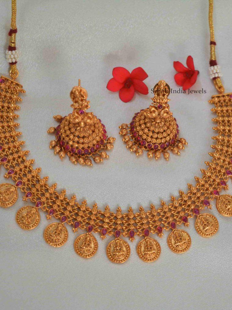 Lakshmi Coin Designer Necklace With Jhumkas