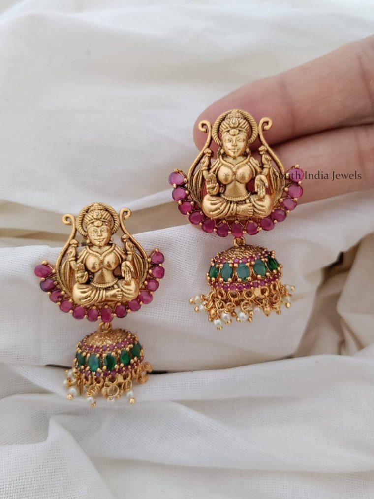 Lakshmi Designer Ruby Emerald Jhumkas