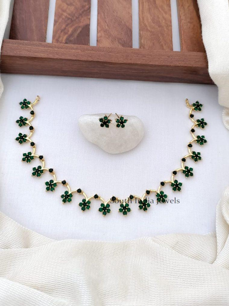 Magnificent CZ Stones Floral Design Necklace